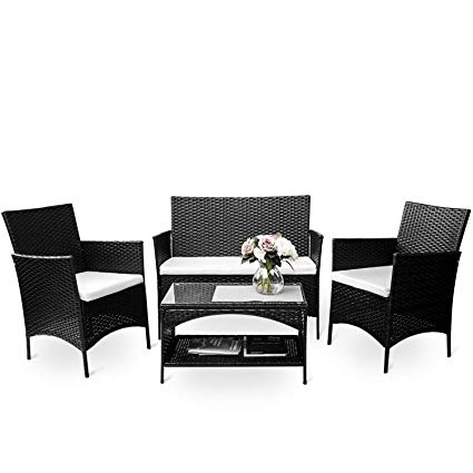 rattan furniture merax 4 piece outdoor patio pe rattan wicker garden lawn sofa seat CADSUZV