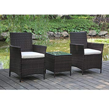 rattan outdoor furniture viva home patio rattan outdoor garden furniture set of 3pcs, wicker chairs UKMFWDT