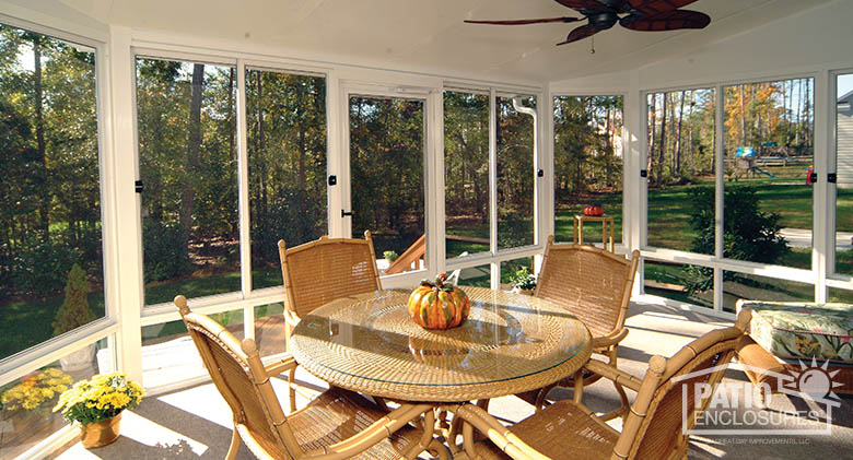 screened in porch ideas white aluminum frame screen room with single-slope roof NZFDDVX