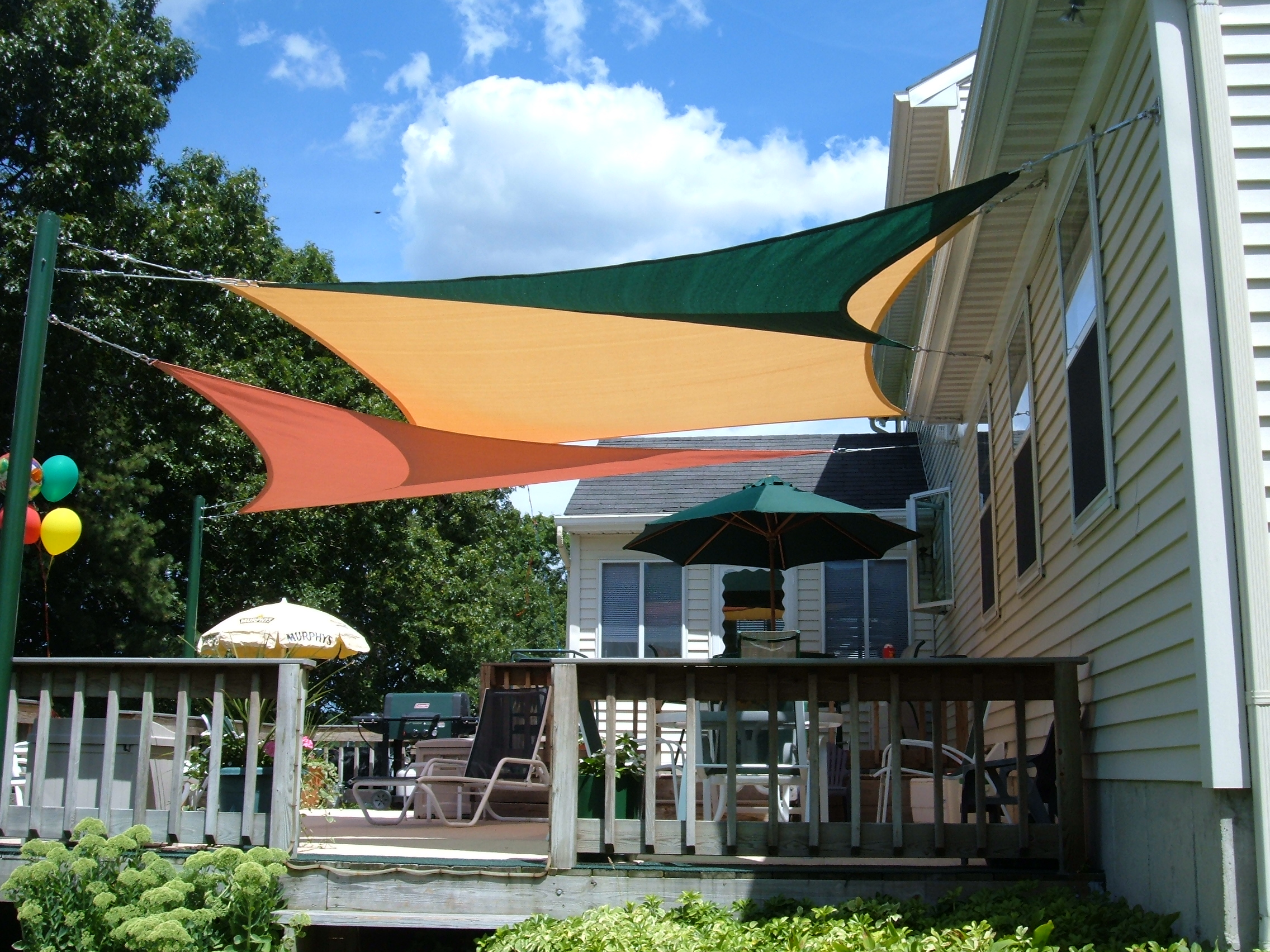 shade sails over patio shade sails over deck ... HZJZEHS