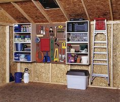 shed storage ideas shed organization for storage - keep things off the ground, hang ladder, WMGAFNX
