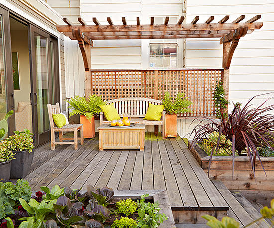 small yard landscaping deck DSLIKYH