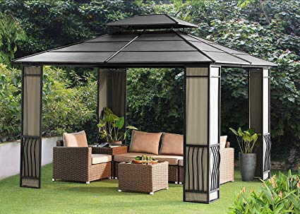 sunjoy 10 x 12 heavy duty galvanized steel hardtop wyndham patio gazebo GQOTNOP