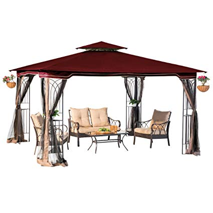 sunjoy 10 x 12 regency ii patio gazebo with mosquito netting, maroon LHARQZV