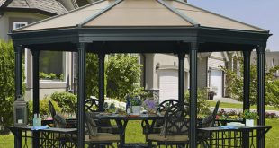 this metal gazebo comes equipped with a gate, giving the space a OBSEXCT