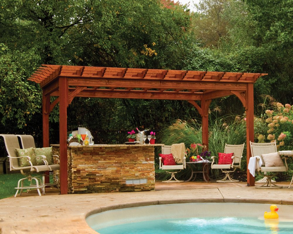 traditional wooden pergola MWYGXZK