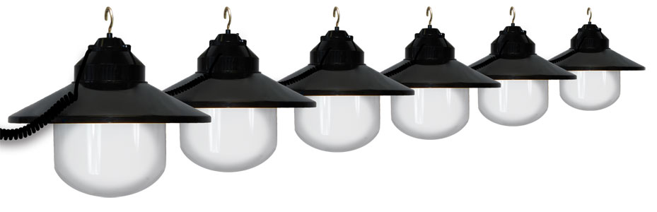 white awning lights with black shade - 6 lights RECOIXF