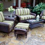 wicker patio set ... landry stripe malt fabric