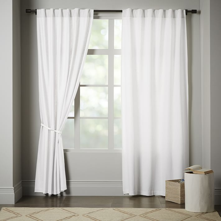 window panels linen cotton curtain - stone white | west elm IIMLVOX