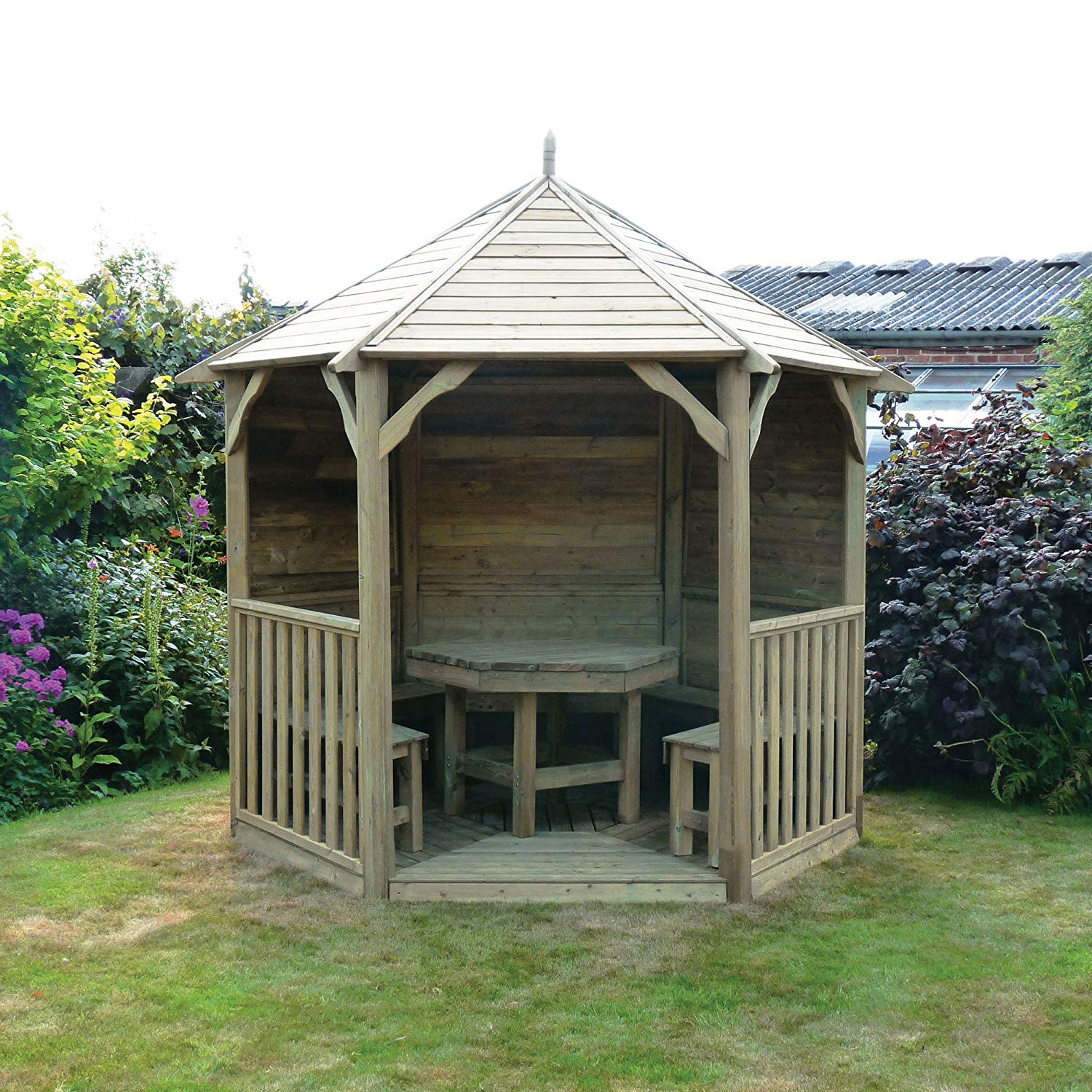 wooden gazebos hampshire gazebo with sides (without central furniture) - pressure treated:  amazon.co.uk: FSXEULP