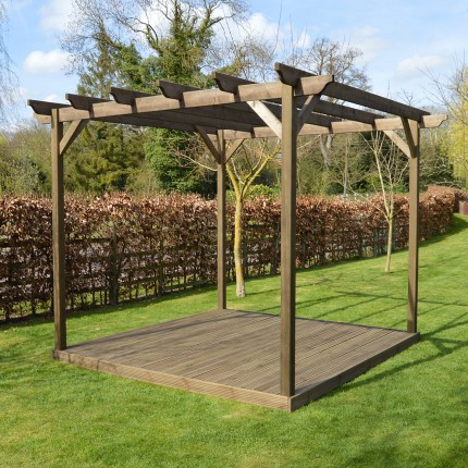wooden pergola and decking kit - 3.6m x 3.6m - 4 posts BXHJVRS