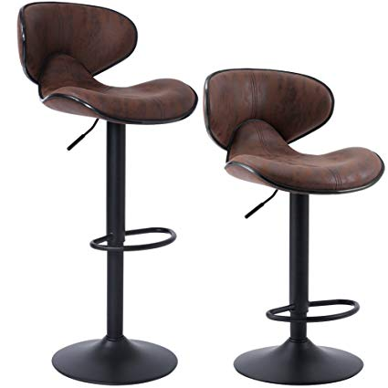Amazon.com: SUPERJARE Set of 2 Adjustable Bar Stools, Swivel