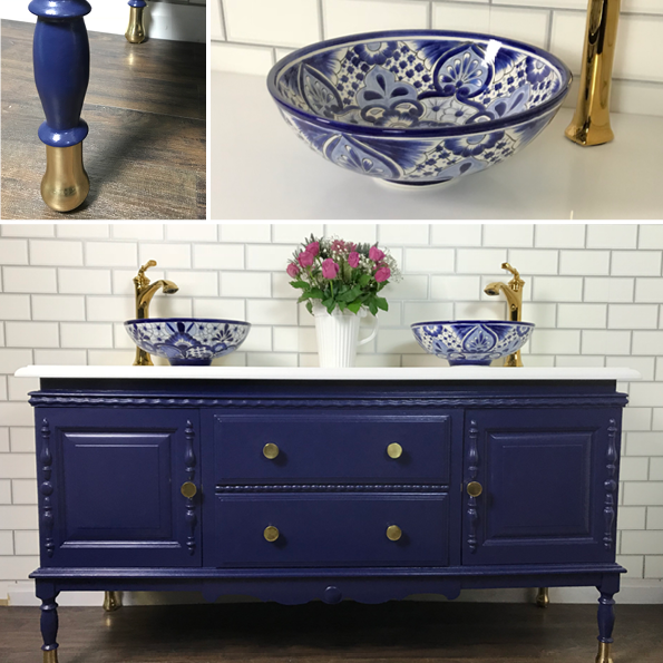 Vintage Bespoke Double Basin Bathroom Vanity Unit Made to Order Navy
