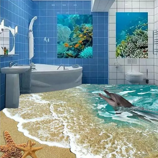 Custome 3d floor tiles sea toilet 80x80cm bathroom wall tiles home