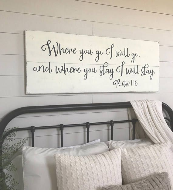 Bedroom wall decor Where you go I will go wood signs | things for