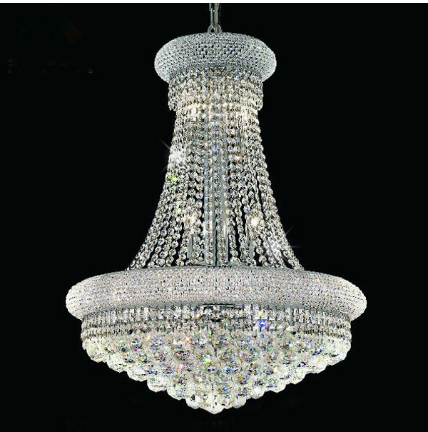Phube Lighting French Empire Gold Crystal Chandelier Chrome
