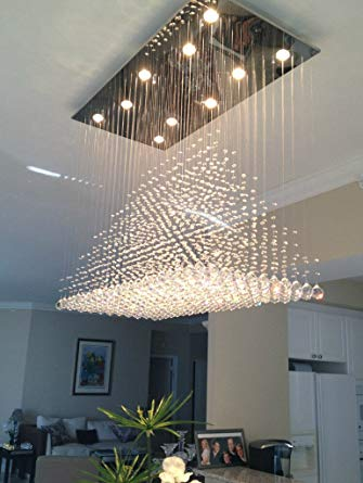 Siljoy Modern Rain Drop Lighting Crystal Ball Fixture Pendant