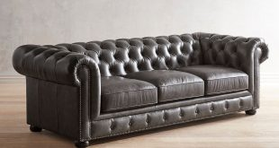 Southerlyn Charcoal Genuine Leather Chesterfield Sofa