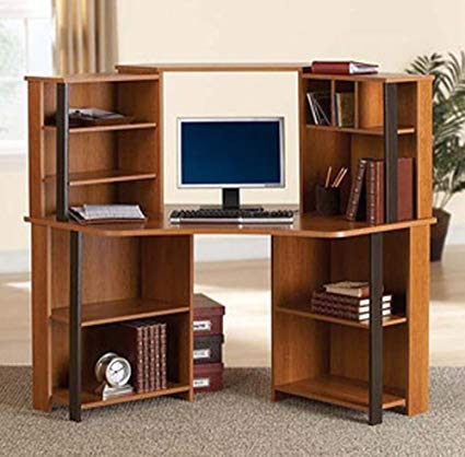 Amazon.com: Corner Computer Desk Workstation with hutch, Brown: Beauty