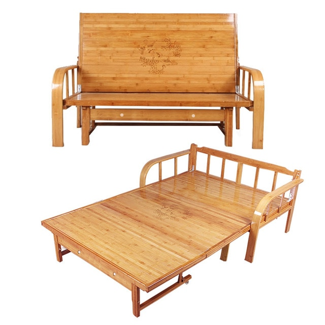 Multi functional Bamboo Folding Bed Sofa Bedroom Furniture Modern