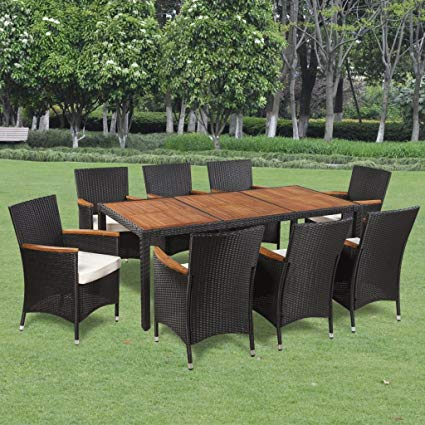Amazon.com: Festnight 9 Piece Outdoor Garden Dining Set Poly Rattan