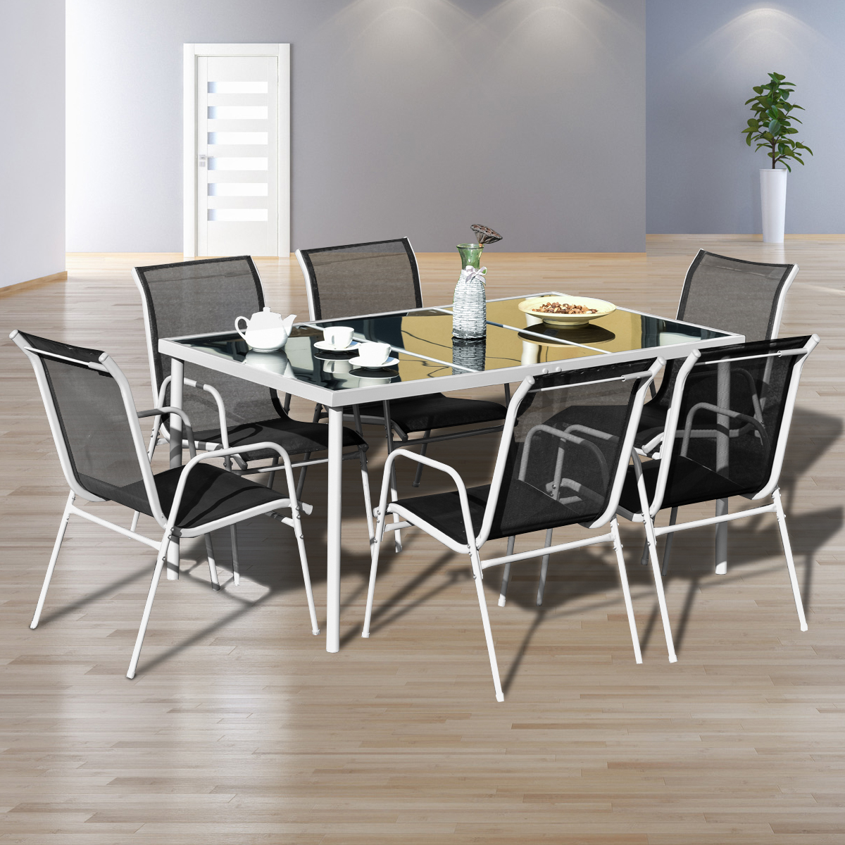 Gymax 7PC Patio Table Chairs Furniture Set Outdoor Garden Dining Set