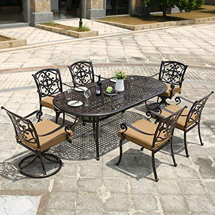 Amazon.com : DOMI OUTDOOR LIVING Aluminum 7-Piece Patio Dining Set