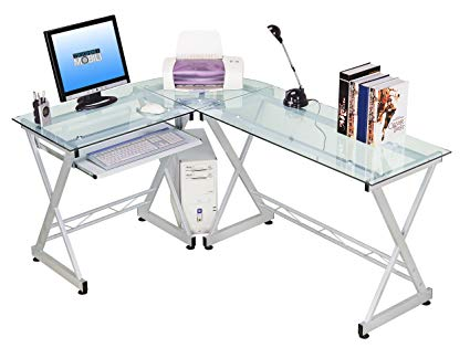 Amazon.com: Tempered Glass L Shape Corner Desk With Pull Out