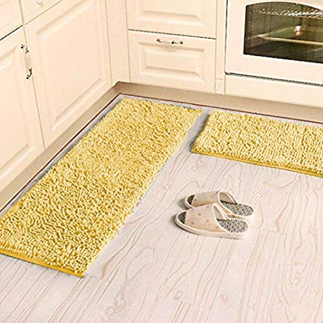 Amazon.com: Ustide Shaggy Chenille Rug 2-Piece Kitchen Rug Set