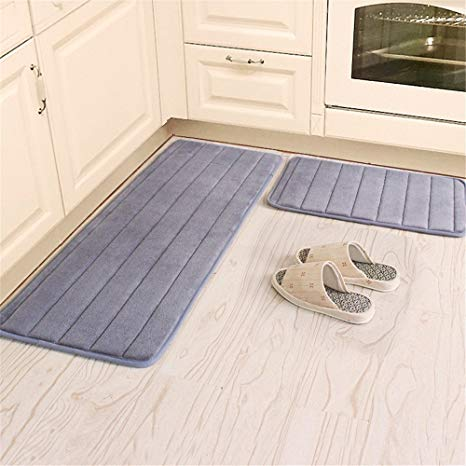 Amazon.com: Kitchen Rugs, CAMAL 2 Pieces Non-Slip Memory Foam Stripe