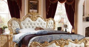 French luxury bed with gold color no mattress H904 -in Beds from