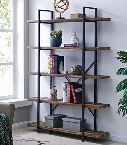 Amazon.com: Homissue 5-Tier Bookcase, Vintage Industrial Wood and