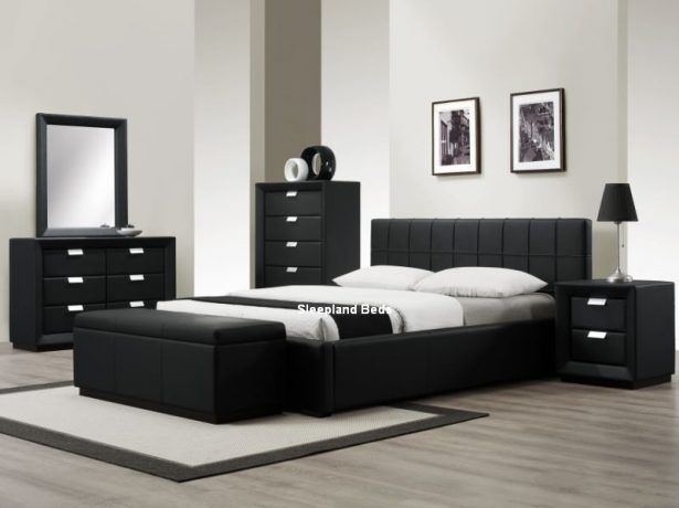 Bedroom:Contemporary Black Bedroom Furniture Sleepland Rossi Black