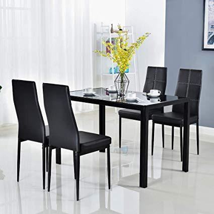 Amazon.com - Bonnlo Modern 5 Pieces Dining Table Set Glass Top