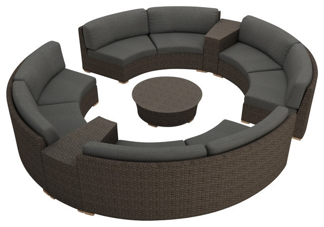 Rattan Furniture Outdoor 7 Piece Round Sectional Sofa Set-in Garden