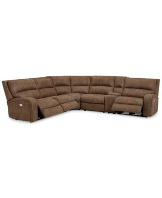Furniture Brant 6-Pc. Fabric Sectional Sofa with 3 Power Recliners