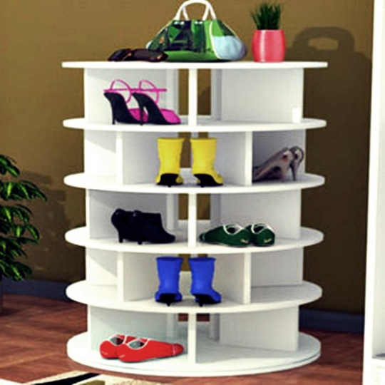 Floor to Ceiling Shoe Storage | Lazy Susan Shoe Organizer | Closet