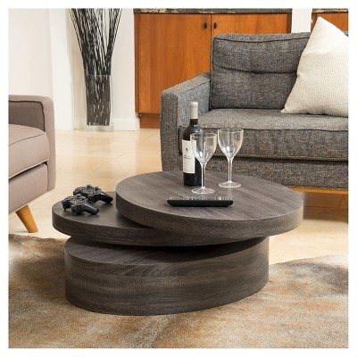 Carson Small Oval Rotatable Coffee Table Black Oak - Christopher