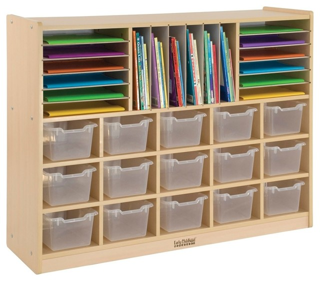 Multi, Section Storage Cabinet With 15 Bins, CL - Contemporary