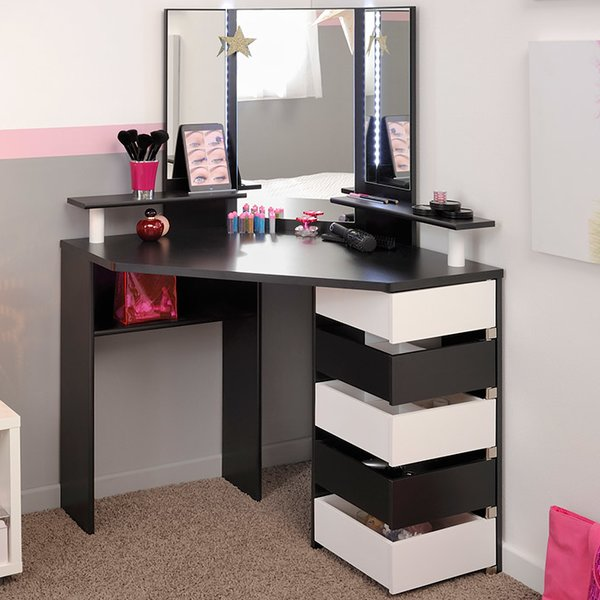 Parisot Volage Makeup Vanity with Mirror & Reviews | Wayfair