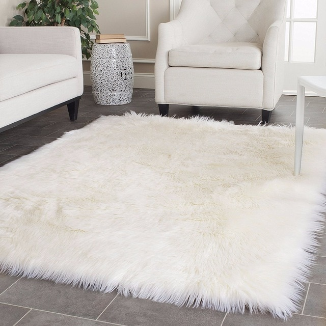 White faux sheepskin rug is a   real classic