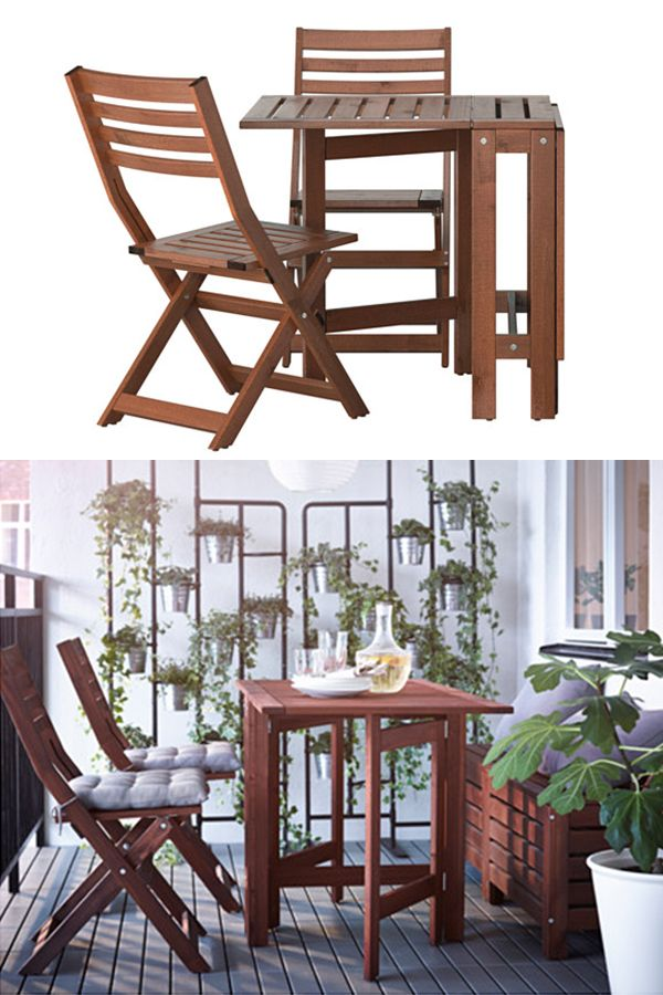 ÄPPLARÖ Table and 2 folding chairs, outdoor, brown stained