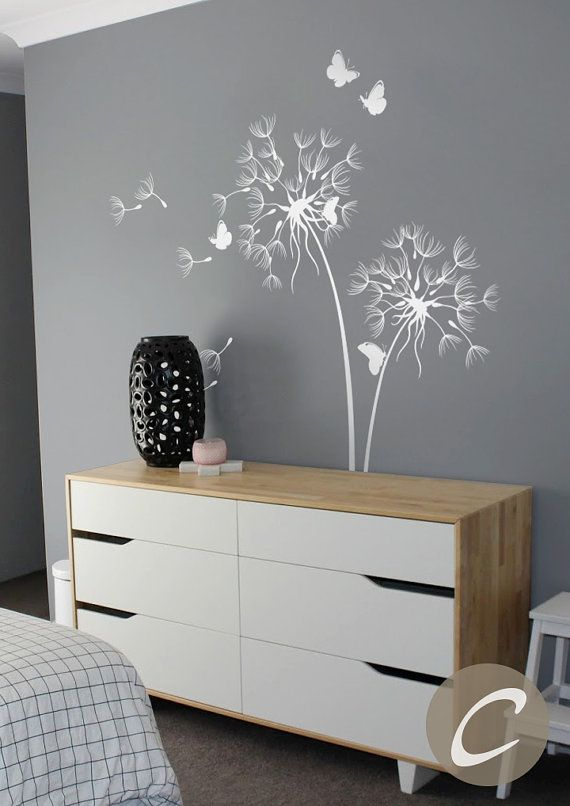 Dandelion Wall Decal With Butterflies Nursery Wall Decal Wall Sticker Wall Decor Wall Art Removable Vinyl Wall Decal Sticker Art -AM026