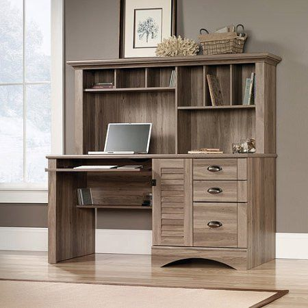 Sauder Harbor View Computer Desk with Hutch, Salt Oak