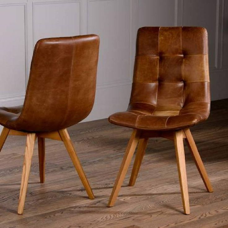 Italian Leather Buttoned Curved Seat Dining Chair
