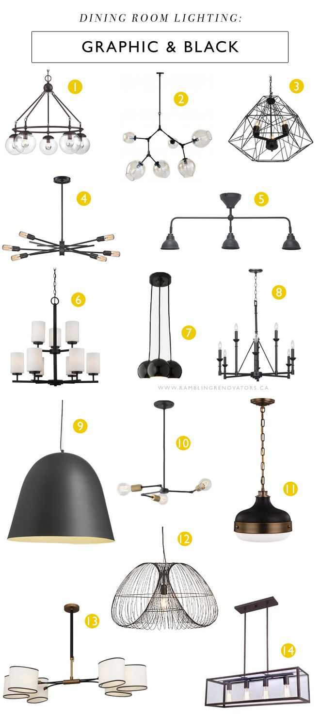 Graphic Black Dining Room Lighting