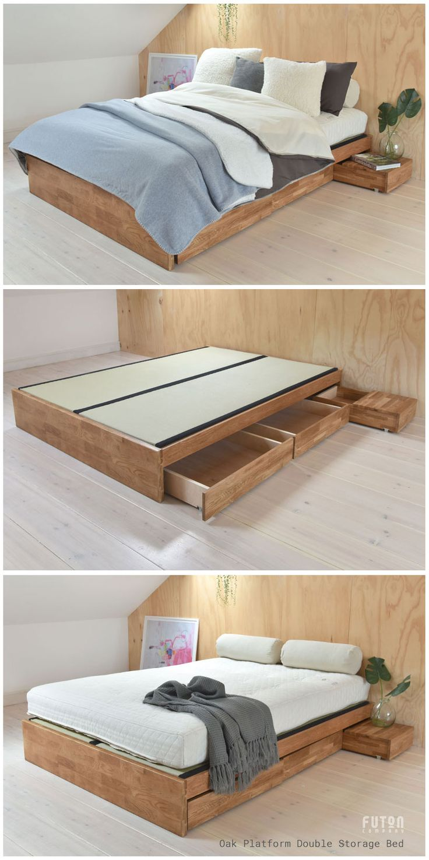 Oak Platform Double Storage Bed