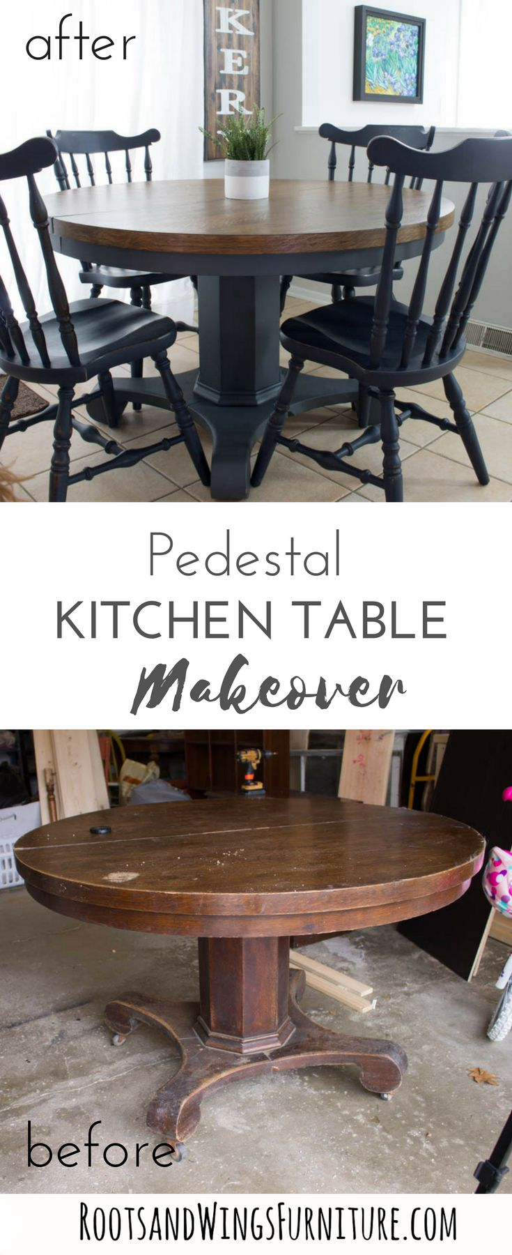 Pedestal Kitchen Table Makeover