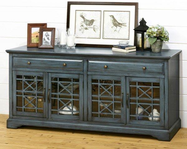 Jofran Furniture Craftsman Antique Blue 70 Inch Media Unit