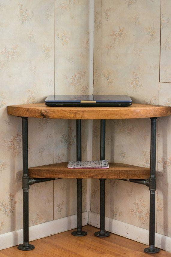 """Reclaimed Wood Corner Table Desk- Solid Oak W/ 26"""" Black Iron Pipe legs."""